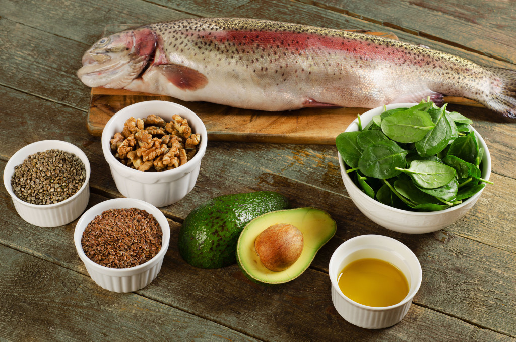 53650536 - foods highest in omega-3 fatty acids. healthy eating. top view
