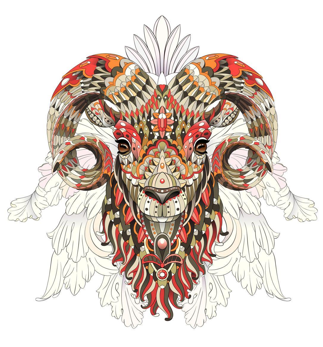 Patterned goat. Ram. Sheep.